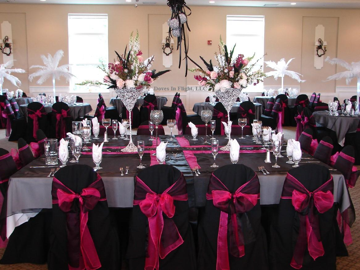 Ideas For BlackHot Pink And Bling Wedding Colors