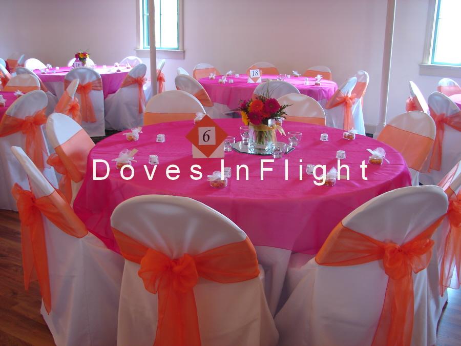 Orange Organza Sashes with Hot Pink Overlay