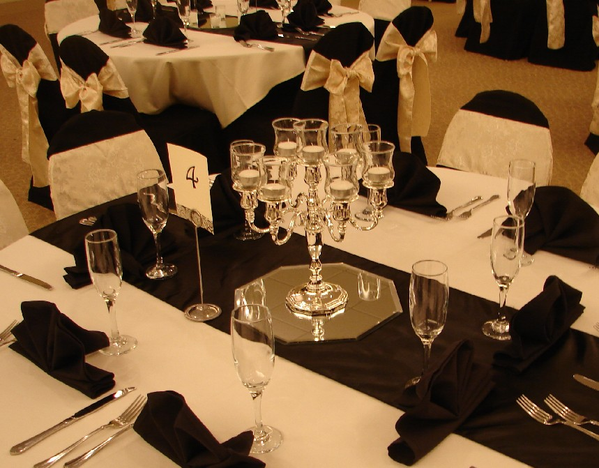 Black Silver And Red Table Decorations Photograph
